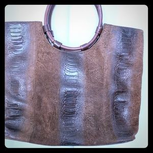 Franco Sarto Bag  Brown Faux Suede and Snakeskin